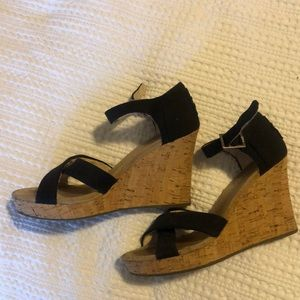 Black Tim's canvas wedge sandals